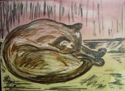 Art: Siamese Asleep by Artist Tracey Allyn Greene