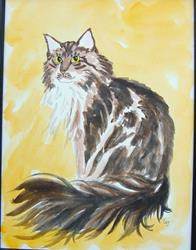 Art: Maine Coon Portrait by Artist Tracey Allyn Greene