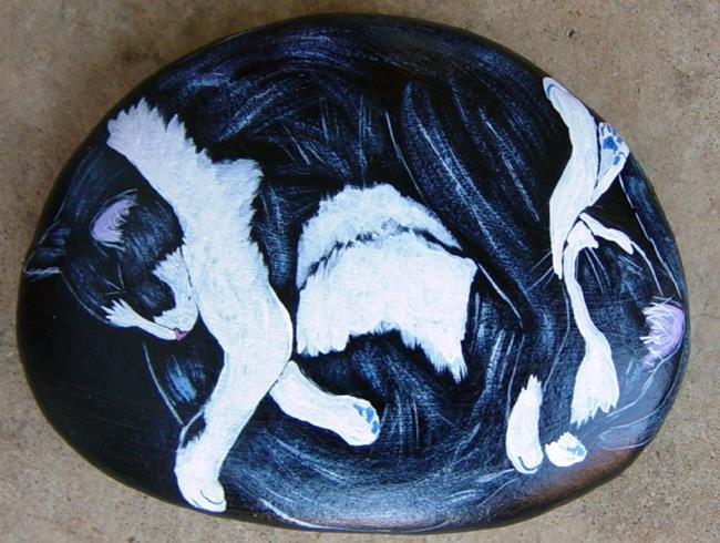 Art: Sleepy Black and White Pair Yin Yang by Artist Tracey Allyn Greene