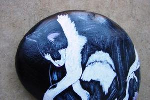 Detail Image for art Sleepy Black and White Pair Yin Yang