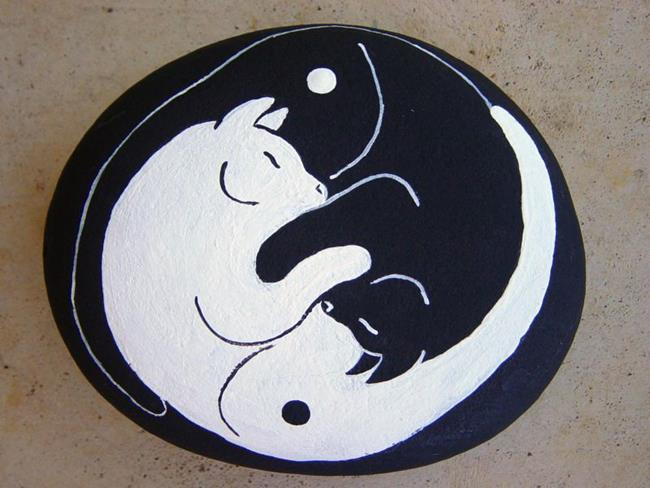 Art: Yin and Yang cats by Artist Tracey Allyn Greene