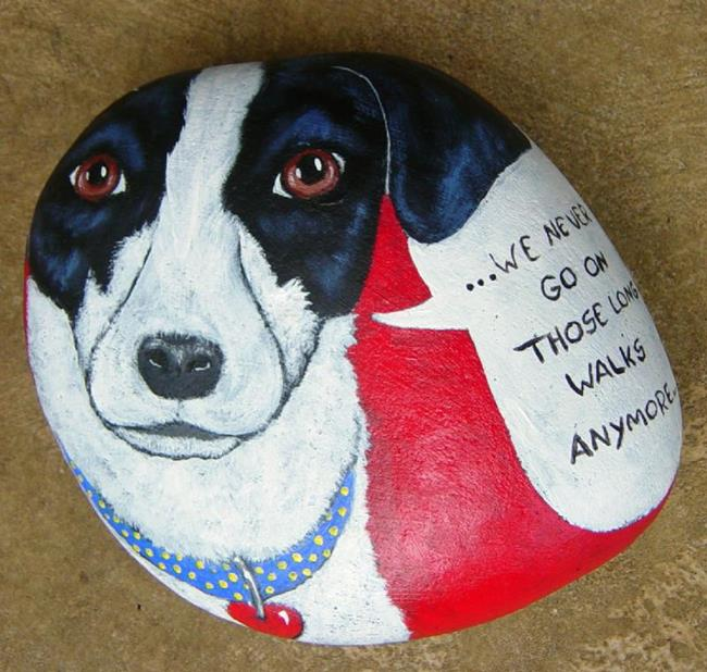 Art: Pup Pop Rock....We Never Go On Those Long Walks Anymore... by Artist Tracey Allyn Greene