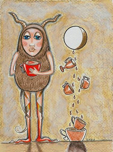 Art: Six of Cups - The Coffee Monger-Sold by Artist Sherry Key