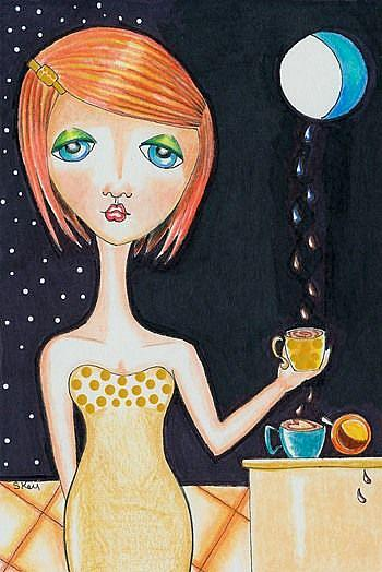 Art: Three of Cups - The Party Goer by Artist Sherry Key