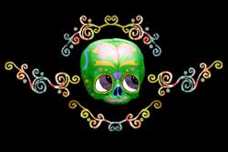 Art: Sugar Skull With Candy by Artist Carissa M Martos