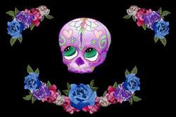 Art: Sugar Skull With Roses by Artist Carissa M Martos