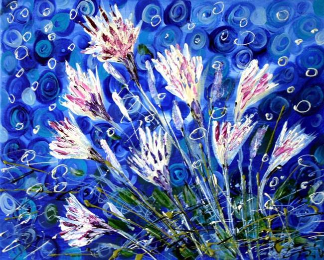 Art: WHITE WATER FLOWERS by Artist LUIZA VIZOLI