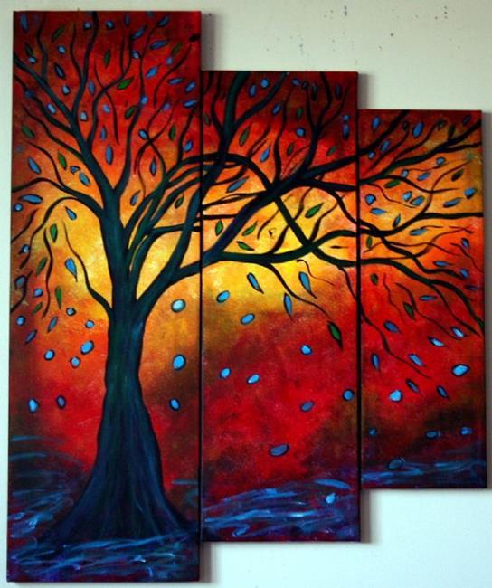 Art: BLUE RAIN and RED SUNSET  by Artist LUIZA VIZOLI