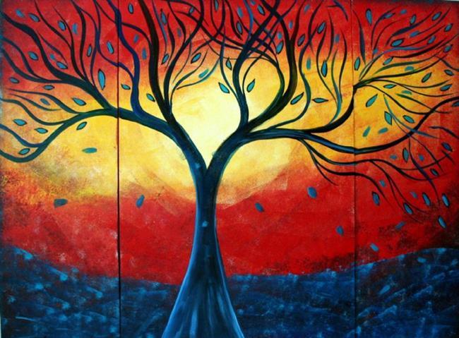 Art: BLUE RAIN RED SUNSET by Artist LUIZA VIZOLI
