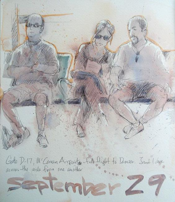 Art: Figures at McCarron Airport by Artist Cathy  (Kate) Johnson