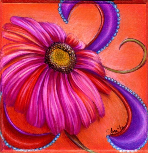 Art: Paisley Gerbera by Artist Alma Lee