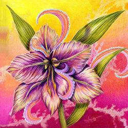 Art: Paisley Amaryllis by Artist Alma Lee