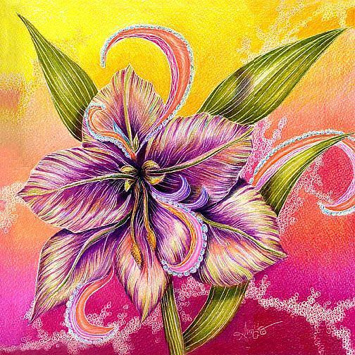 Art: Paisley Amaryllis by Artist Alma Lee