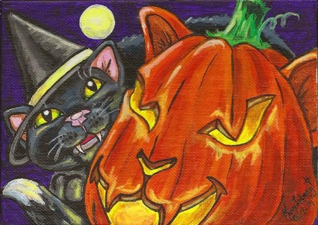Art: Cat-O-Lantern & the Witch's Black Cat SOLD by Artist Kim Loberg