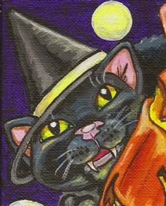Detail Image for art Cat-O-Lantern & the Witch's Black Cat SOLD