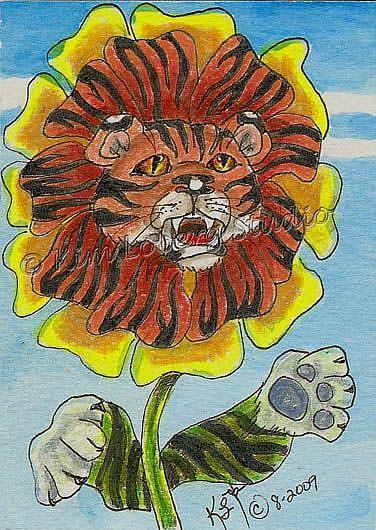 Art: Tiger Zinnia by Artist Kim Loberg