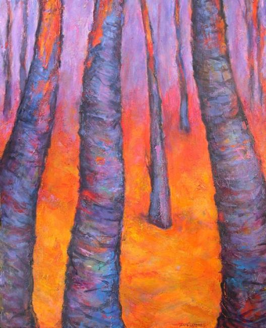 Art: Glowing Trees #6 by Artist Virginia Ann Zuelsdorf