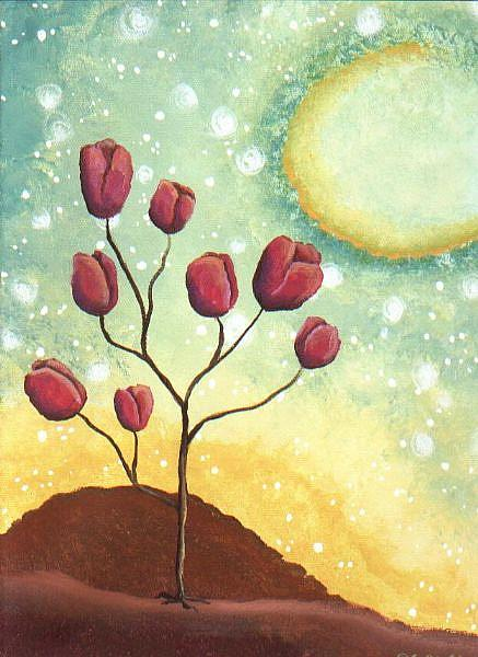 Art: Tulip Tree  - Green Sky by Artist Cynthia Schmidt