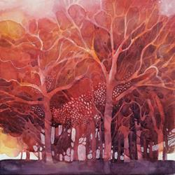 Art: Red trees in the wood by Artist Alessandro Andreuccetti