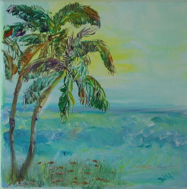 Art: Tropical Palms on the Beach, SOLD by Artist Delilah Smith