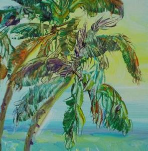 Detail Image for art Tropical Palms on the Beach, SOLD