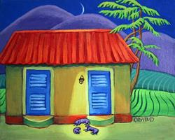 Art: Three Dog Night - Carribean Cottage by Artist Rebecca Stringer Korpita
