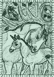 Art: BABES IN THE WOODS - Unicorn Family Colt Stamp by Artist Susan Brack