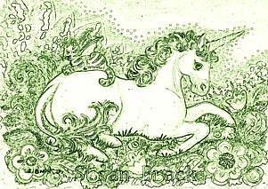 Art: BAT CAT AND UNICORN - Stamp by Artist Susan Brack