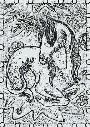 Art: DEEP IN THE FOREST - Reclining Unicorn Stamp by Artist Susan Brack