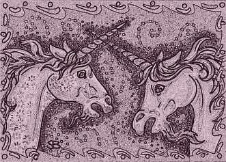 Art: DUELING UNICORNS - Horse Stallion Stamp by Artist Susan Brack