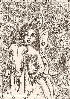 Art: ENCHANTED FOREST - Fairy Unicorn Stamp by Artist Susan Brack