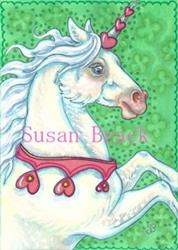 Art: UNICORN VALENTINE STALLION by Artist Susan Brack