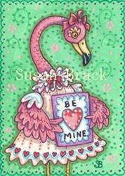 Art: PRETTY IN PINK VALENTINE - Flamingo by Artist Susan Brack