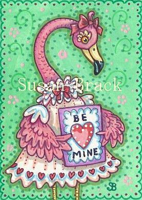 Art: PRETTY IN PINK VALENTINE - Flamingo by Artist Susan Brack
