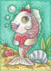 Art: FISHING FOR A VALENTINE by Artist Susan Brack