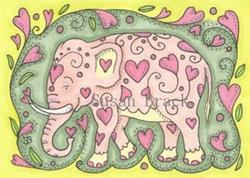 Art: PINKY Elephant by Artist Susan Brack