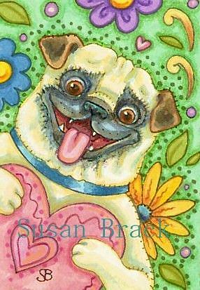 Art: BE MINE Pug by Artist Susan Brack