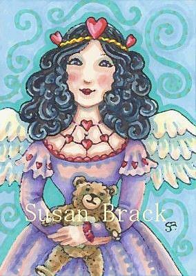 Art: VALENTINE ANGEL AND TEDDY by Artist Susan Brack