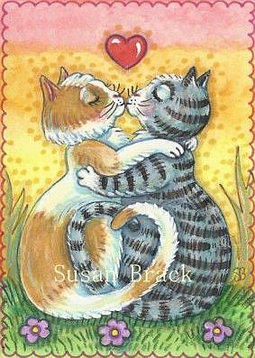 Art: SUNSET KITTY KISSES by Artist Susan Brack