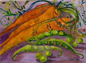 Art: Peas and Carrots=sold by Artist Delilah Smith