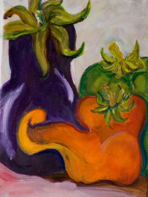 Art: Eggplant and Peppers-sold by Artist Delilah Smith