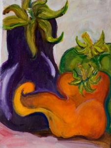 Detail Image for art Eggplant and Peppers-sold