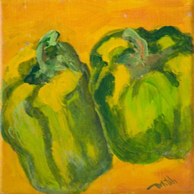 Art: Two Green Peppers by Artist Delilah Smith