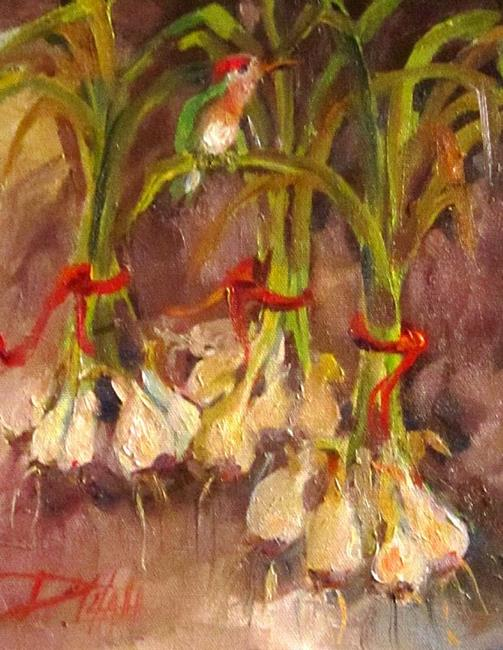 Art: Hummingbird on Green Onions by Artist Delilah Smith