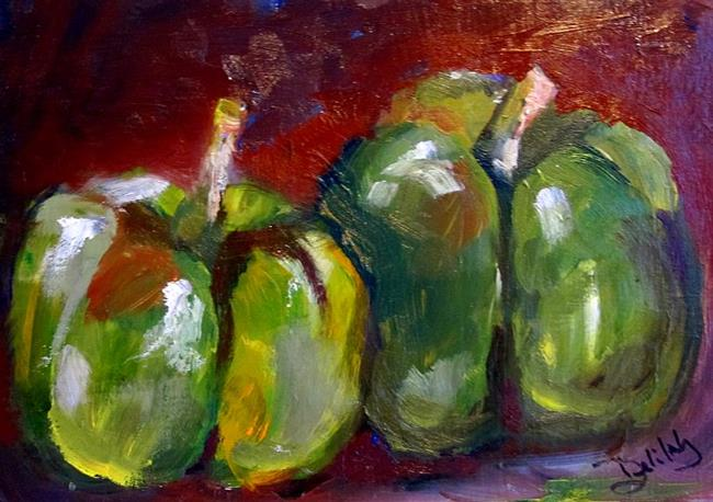 Art: Two Green Peppers-sold by Artist Delilah Smith
