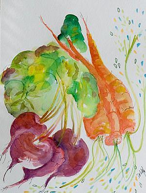 Art: Beets and Carrots by Artist Delilah Smith