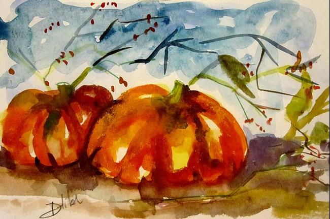 Art: Pumpkins and Berries-SOLD by Artist Delilah Smith
