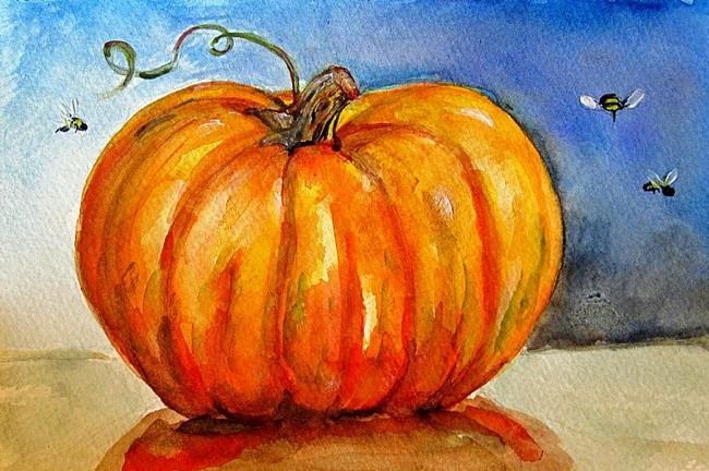 Art: Pumpkin and Bees-Sold by Artist Delilah Smith