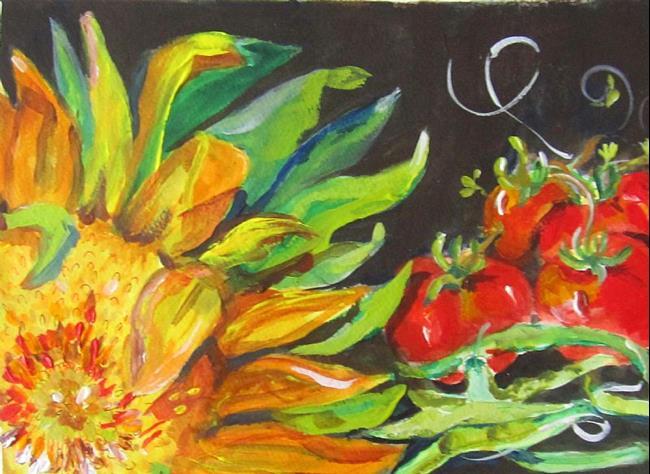 Art: Sunflower and Vegetables by Artist Delilah Smith