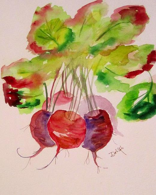 Art: Beets and Green Tops by Artist Delilah Smith